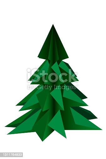 istock The green christmas tree is insulated on a white background. In the style of 3D origami 1311764833