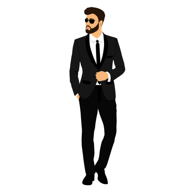 The groom. Gentleman. Businessman. Clothing. The groom. Gentleman. Businessman. Clothing. Wedding men's suit tuxedo Vector illustration tuxedo stock illustrations