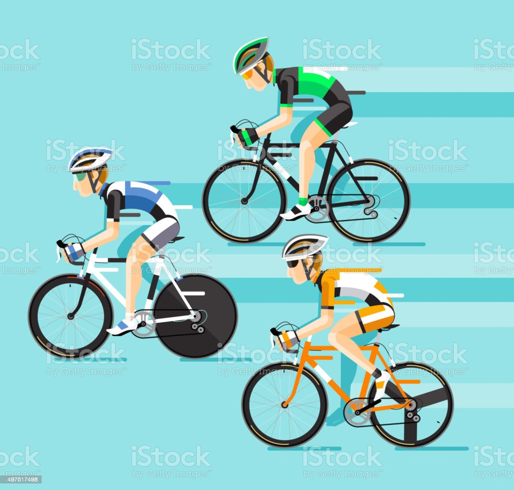 The Group of cyclists man in road bicycle racing. vector art illustration