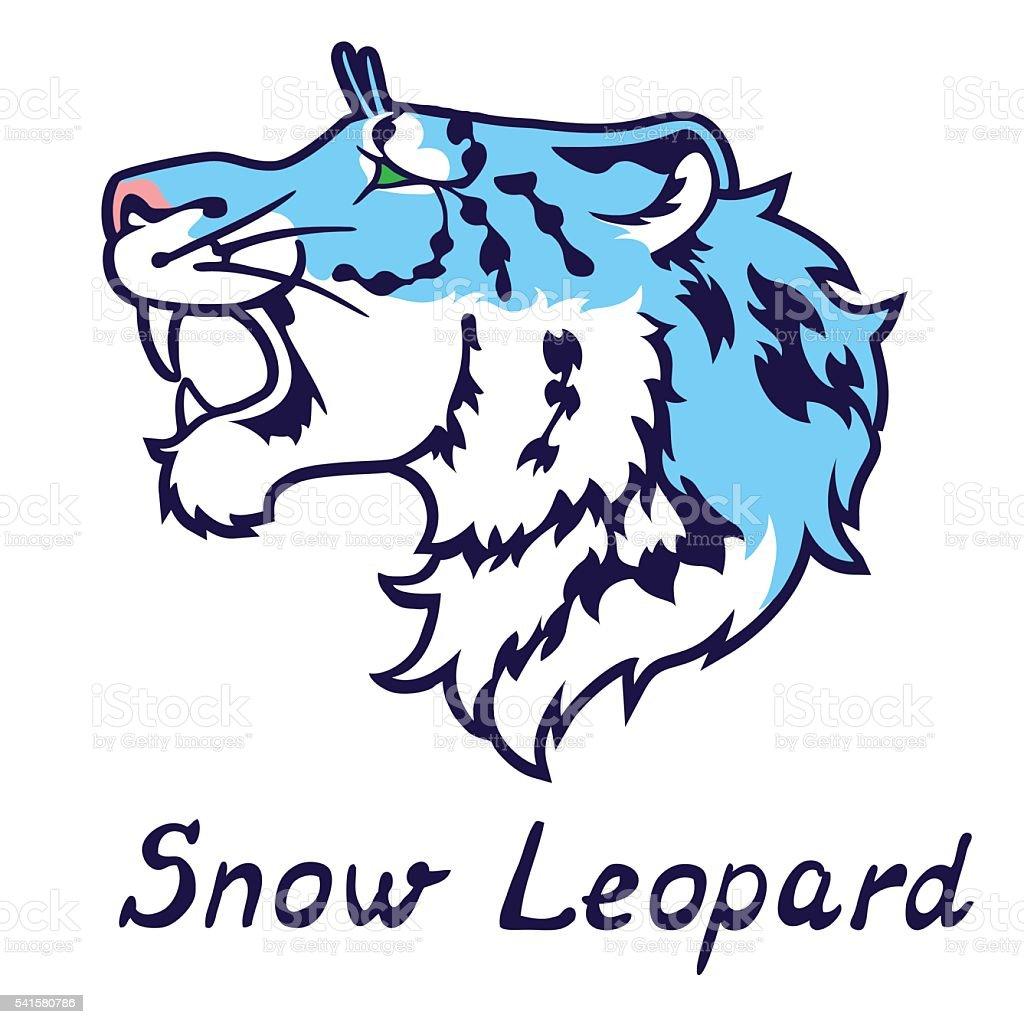 Гроулинг голубой снежный барс в профиль векторная иллюстрация