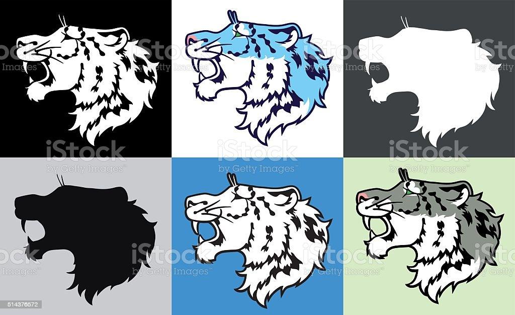 В гроулинг снег Леопард (ирбис) в профиле векторная иллюстрация