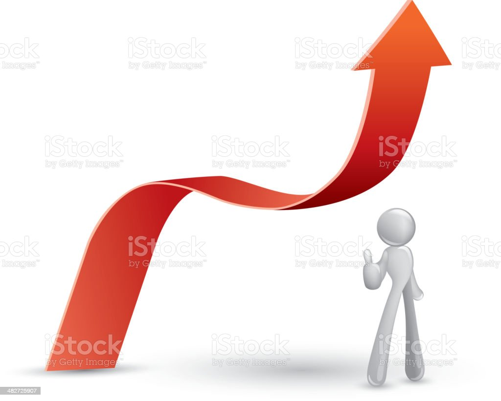 The growth performance, He thumb out royalty-free stock vector art
