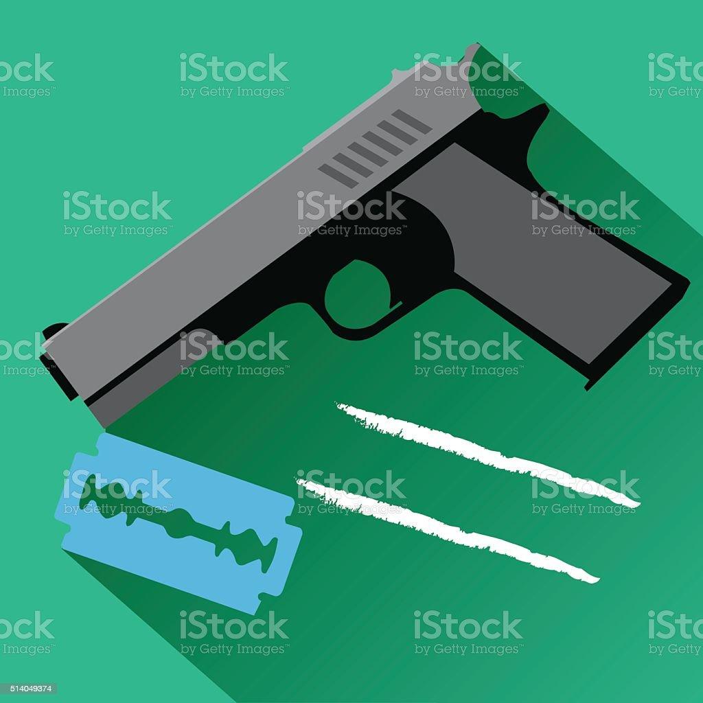 The gun and a razor blade icon. vector art illustration