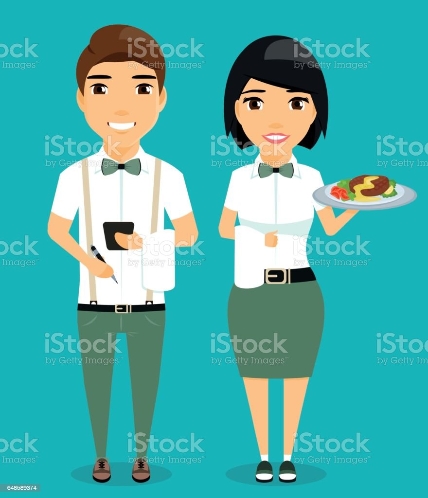 The guy and the girl waiters. - arte vettoriale royalty-free di Adulto