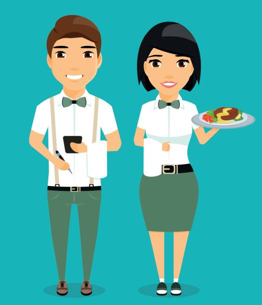 illustrazioni stock, clip art, cartoni animati e icone di tendenza di the guy and the girl waiters. - portrait of waiter and waitress holding a serving