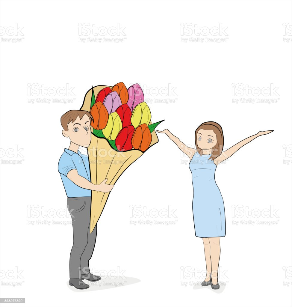 The guy gives the girl a bouquet of flowers hand drawn cartoon the guy gives the girl a bouquet of flowers hand drawn cartoon vector illustration for izmirmasajfo Choice Image