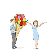 The guy gives the girl a bouquet of flowers. Hand drawn cartoon vector illustration for design and infographic.