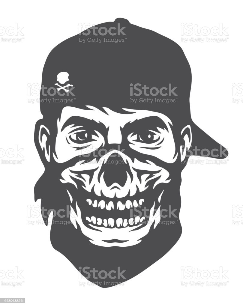 The guy in the bandana with a skull pattern. vector art illustration