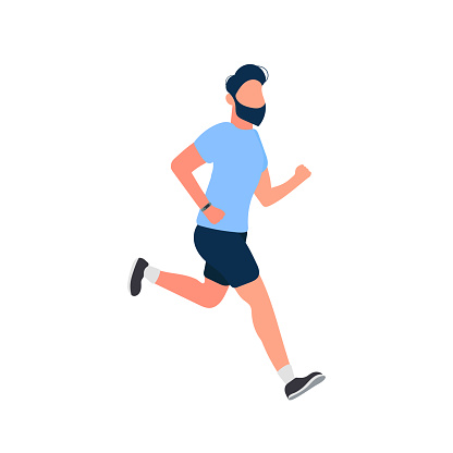 The guy is running. A man in shorts and a T-shirt is running. Isolated. Vector.