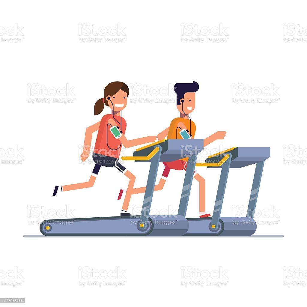 The guy with the girl goes in for sports on vector art illustration