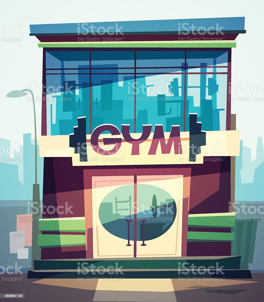 The gym facade vector art illustration