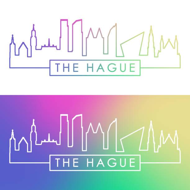 stockillustraties, clipart, cartoons en iconen met de stads skyline van den haag. kleurrijke lineaire stijl. bewerkbare vectorbestand. - den haag