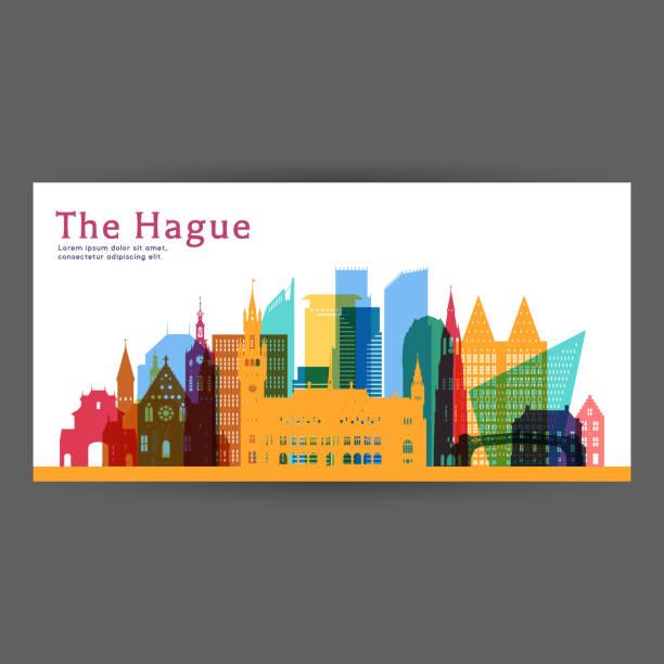 stockillustraties, clipart, cartoons en iconen met den haag kleurrijk het platform vectorillustratie skyline city silhouet, wolkenkrabber, platte ontwerp. - den haag