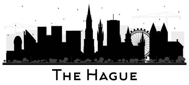 stockillustraties, clipart, cartoons en iconen met the hague netherlands city skyline van silhouet met zwarte gebouwen geïsoleerd op wit. - den haag