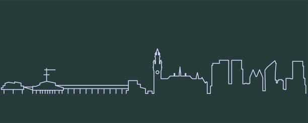 stockillustraties, clipart, cartoons en iconen met de skyline van den haag single line - den haag