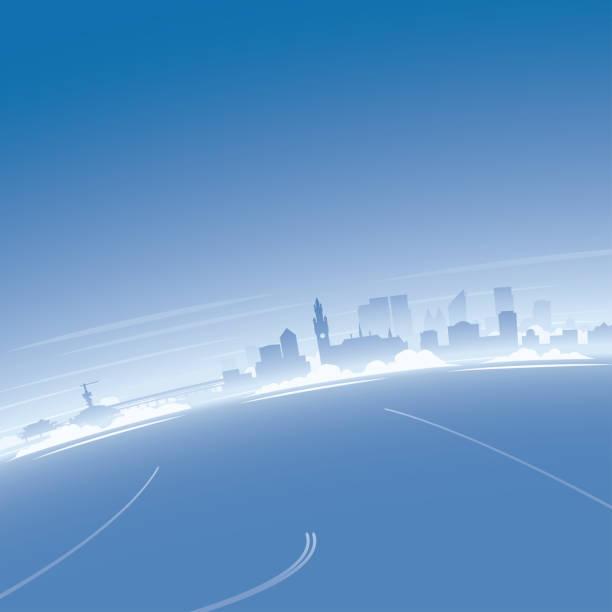 stockillustraties, clipart, cartoons en iconen met luchtfoto van de skyline van den haag - den haag