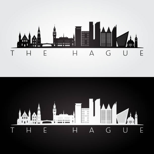 stockillustraties, clipart, cartoons en iconen met den haag skyline en bezienswaardigheden silhouet, zwart / wit ontwerp, vectorillustratie. - den haag