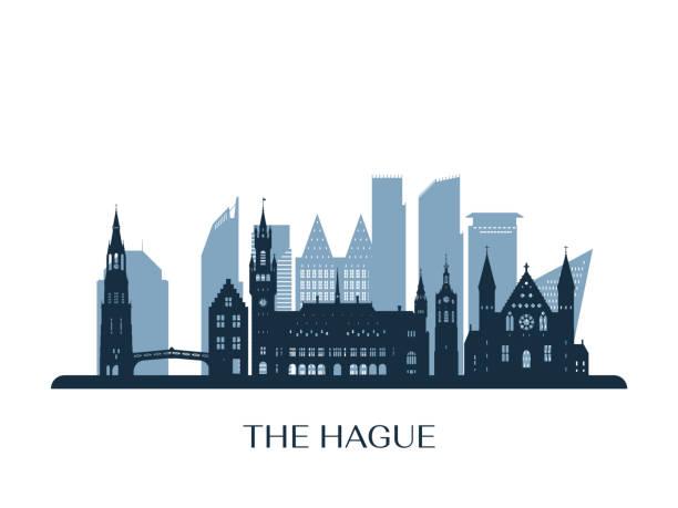 stockillustraties, clipart, cartoons en iconen met de skyline van den haag, monochroom silhouet. vector illustratie. - den haag
