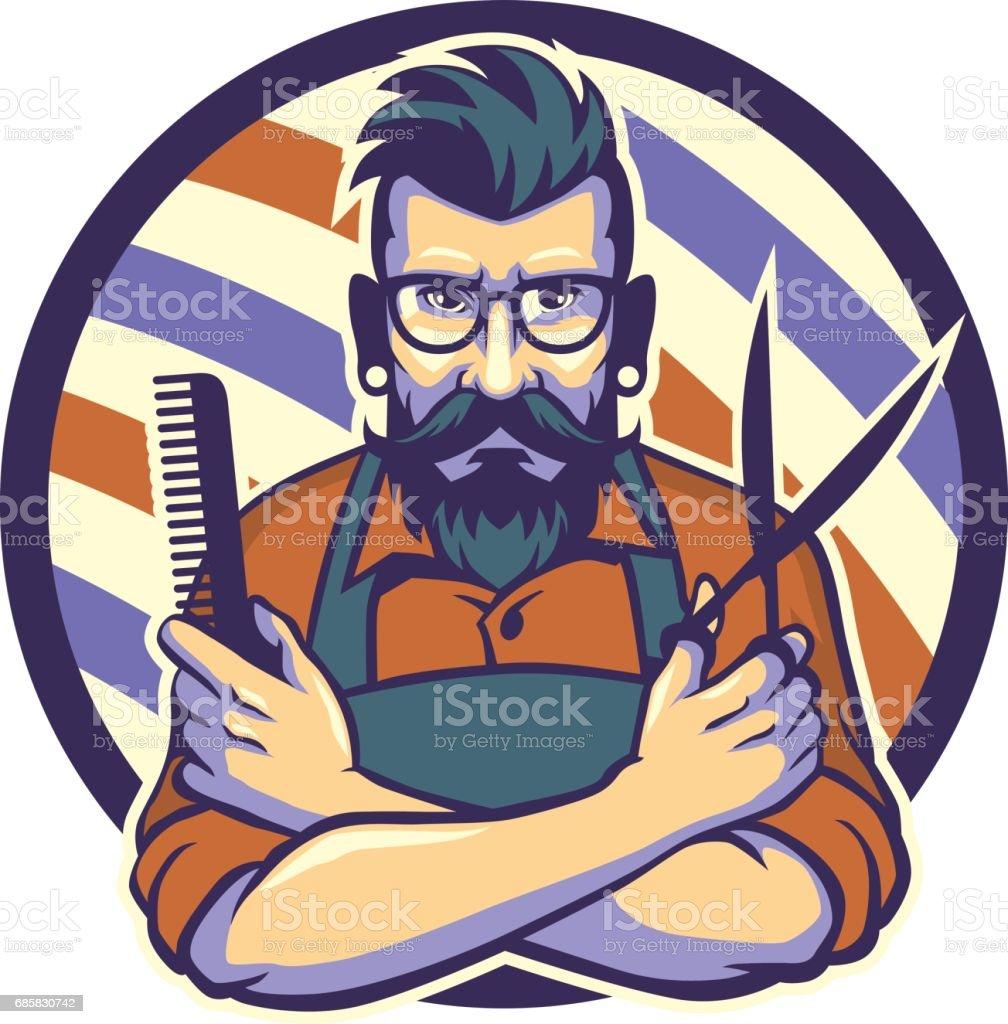 the hairstylist vector art illustration