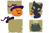 Illustration of elements representing Halloween, like pumpkin with witch's hat, black cat, witch hat and a cauldron coming out smoke.