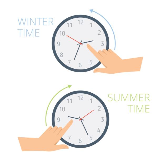 the hand change time on the clock to wintertime, summertime. - daylight savings time stock illustrations, clip art, cartoons, & icons