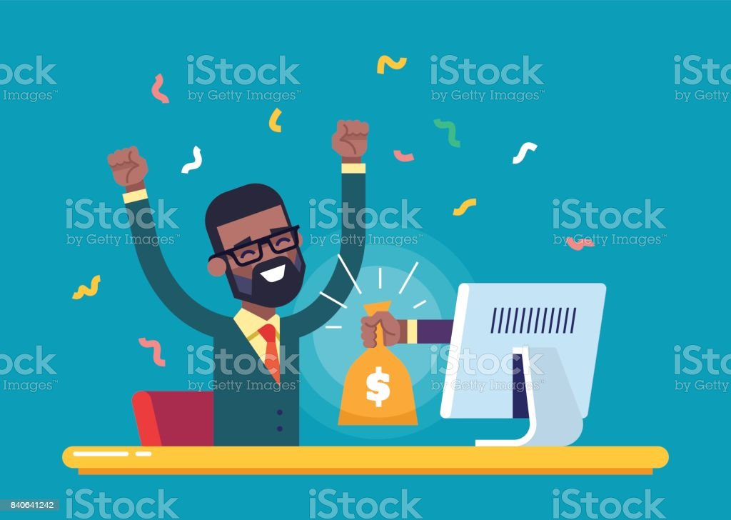 The hand from the monitor stretches a bag of money to a happy black man. Concept of earnings on the Internet, online income, gambling. Modern vector illustration. vector art illustration