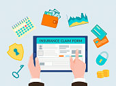 The hand holding the gadget, form insurance online, insurance symbols: shield with keyhole, key, padlock, schedules of revenues, calendar, wallet with cash and credit cards. Vector illustration, concept filling insurance form online.