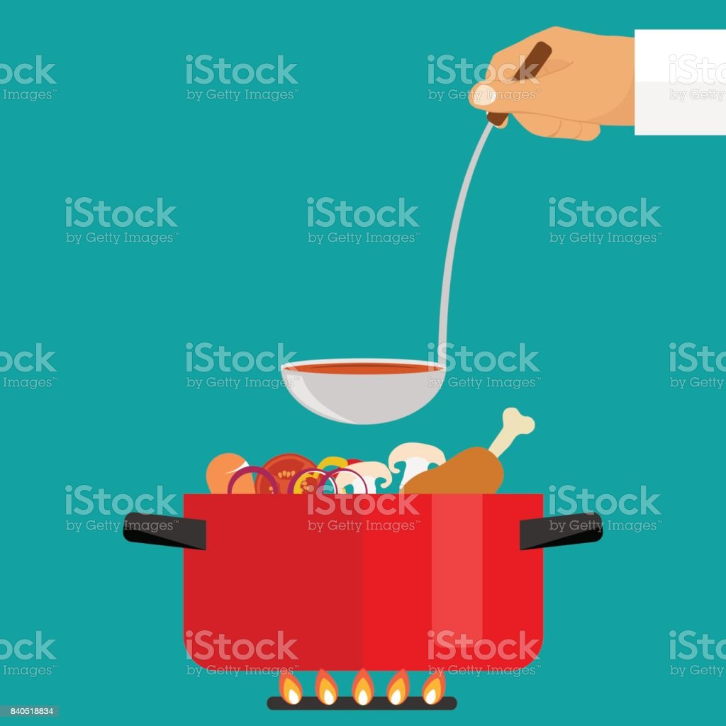 The hand holds a ladle of soup. Casserole with soup on fire vector art illustration