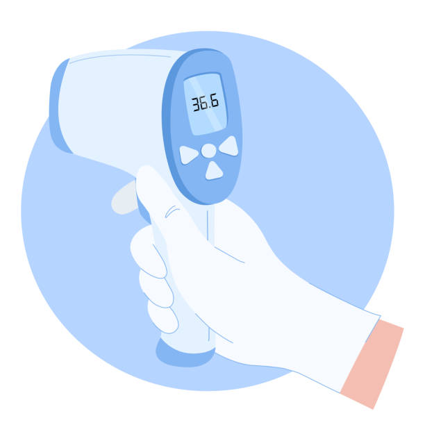 The hand of a doctor is holding a non-contact thermometer to measure the temperature of the patient. The concept of prevention, the definition of symptoms. Coronavirus. Stock vector illustration. antipyretic stock illustrations