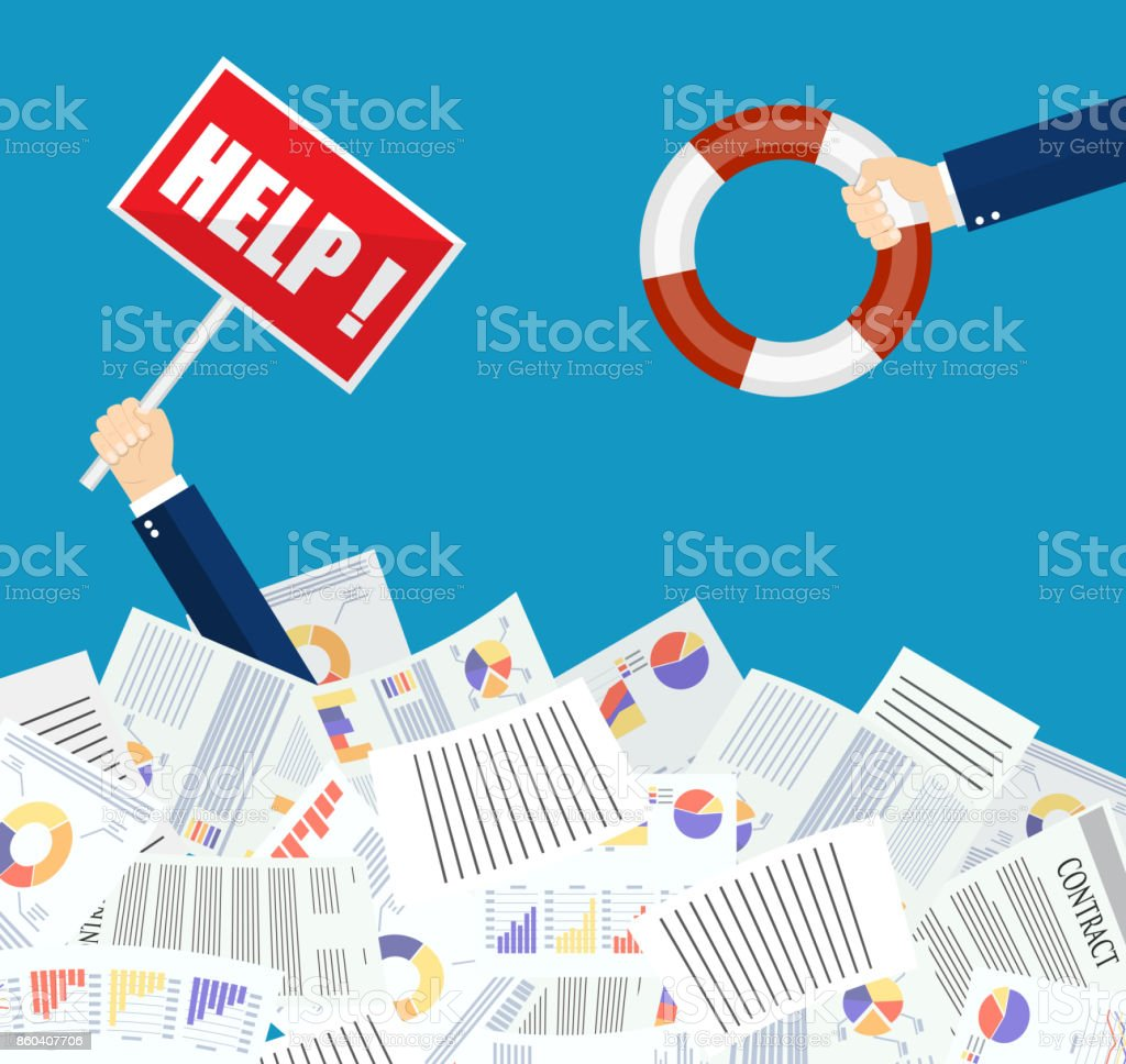 The hand of a man sticks out of a pile of papers. vector art illustration