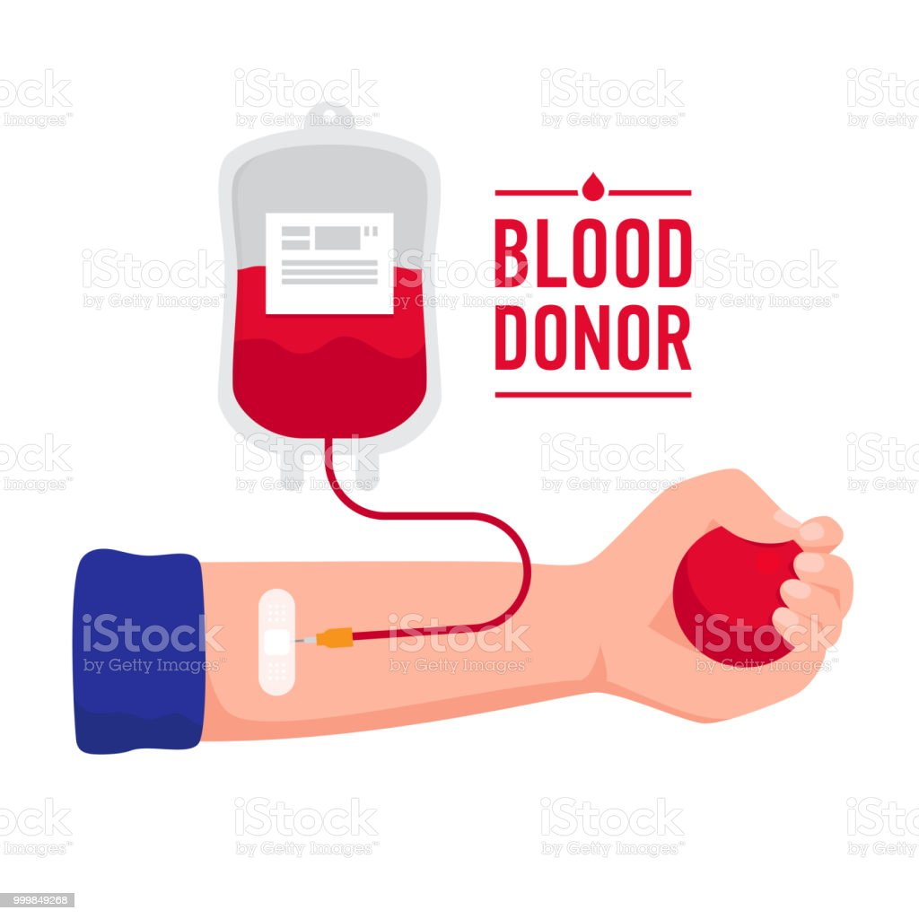 The hand of recipient receiving the Blood transfusion isolated on white background. World Blood Donor Day vector concept illustration in flat design. Blood donation medical illustration. vector art illustration