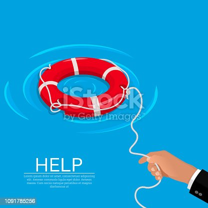 istock The hand throws a lifebuoy 1091785256