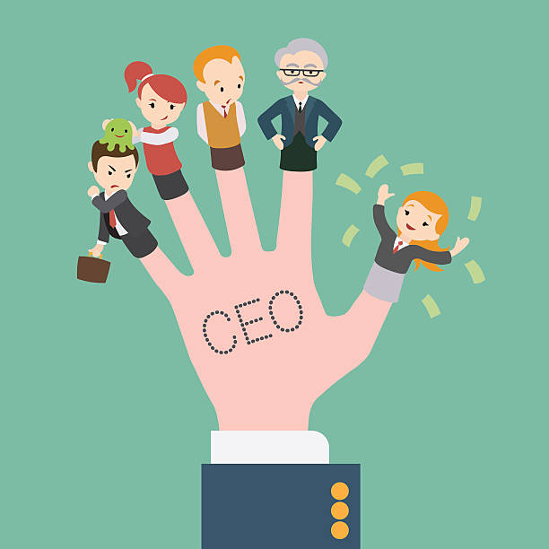 the hand with the ceo inscription - old man puppet stock illustrations, clip art, cartoons, & icons