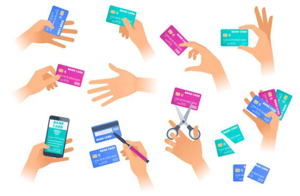 ręce z kart kredytowych w różnych sytuacjach. - ręka człowieka stock illustrations