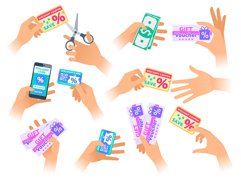 The hands with discount coupons in various situations.