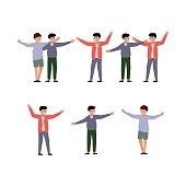 The happy boys spread their hands in greeting. Two happy men hugging each other. Vector illustration