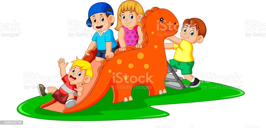 the happy children playing the dinosaur slide and some of them climb the ladder vector art illustration
