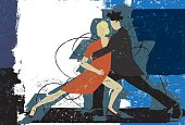 A couple dancing the tango over an abstract background.