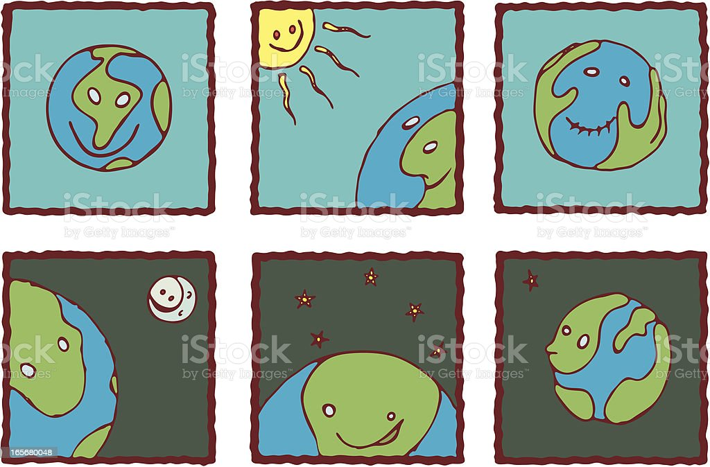 The Happy Earth Icons. royalty-free stock vector art