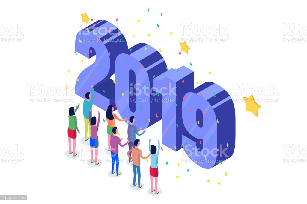 the happy new year 2019 isometric concept the 3d template for greeting cards posters