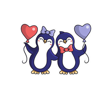 The happy Penguins are holding balloon hearts.