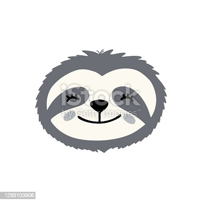 istock The head of a cute sloth hand drawn flat vector illustration. Cartoon tropical animal smiles. 1293103906