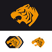 The head of a tiger. Template of company's sign. Corporate style for the security company, sports hall. Male symbol. A serious tiger.