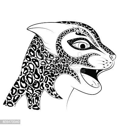 Ilustración de La Cabeza De Un Gato Salvaje Maraña De Zen Vio Un ...