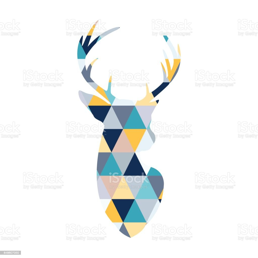 La cabeza de los ciervos escandinavos es coloreada por varios triángulos de colores. Estilo escandinavo. - ilustración de arte vectorial