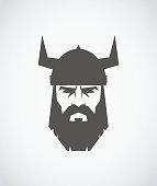 The head of Viking wearing a helmet