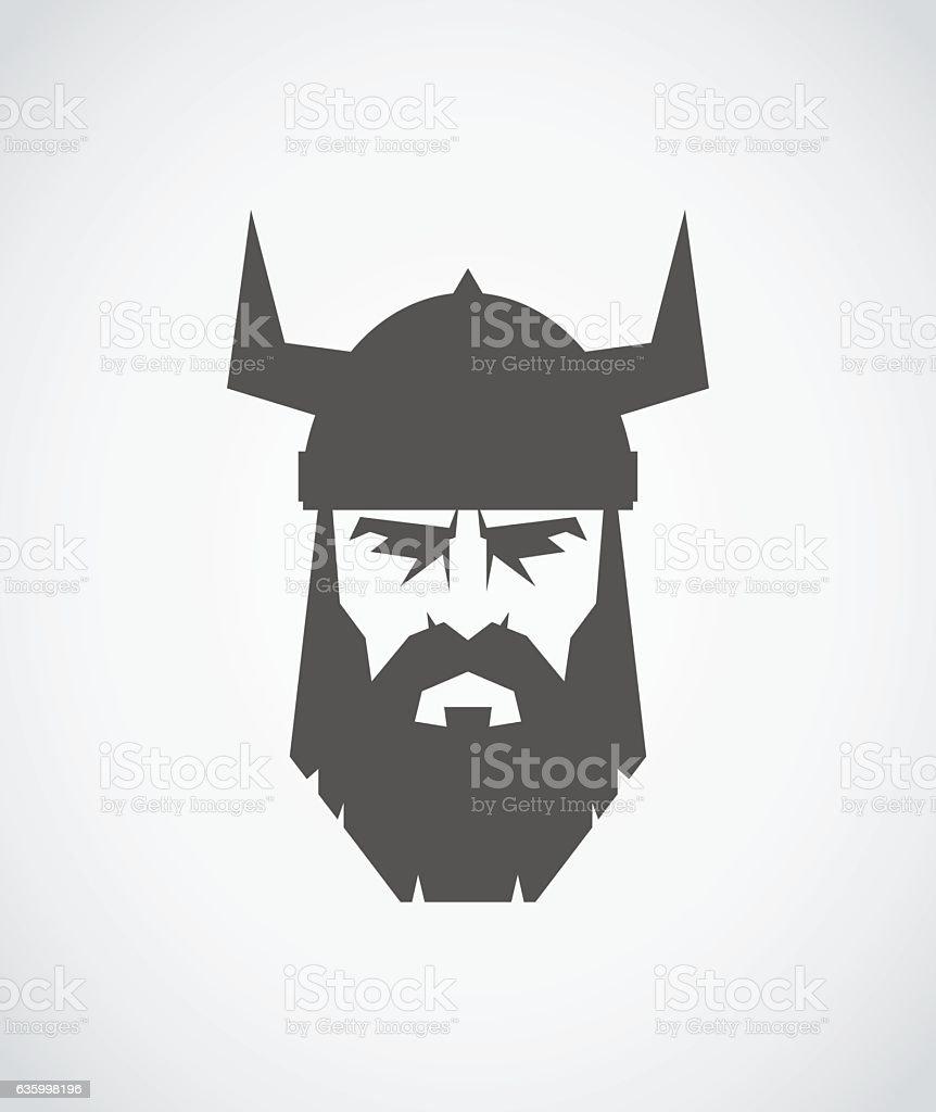 The head of Viking wearing a helmet vector art illustration