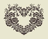 The heart of rose border,Vector ornamental decorative elements design
