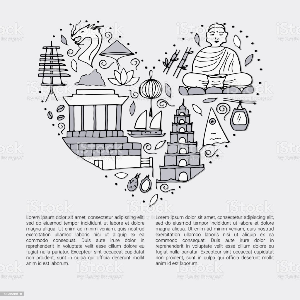 The Heart With Black Line Style Symbols Of Vietnam Stock Vector Art