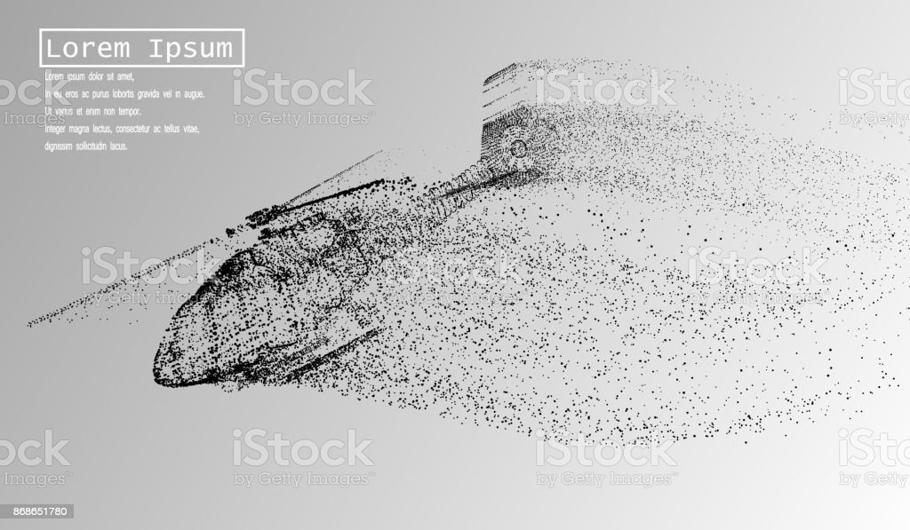 The helicopter of the particles. The helicopter breaks down into small molecules. Vector illustration vector art illustration